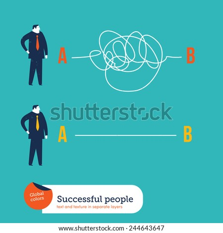 Businessmen one with clear plans the other with chaotic plans. Vector illustration Eps10 file. Global colors. Text and Texture in separate layers. - stock vector