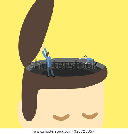 businessmen open and explore around black hole or area on the opened head of a giant man.  - stock vector
