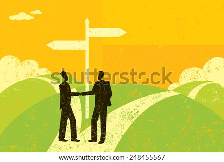 Businessmen Parting Ways Two business partners, reaching a fork in the road, shake hands and decide to part ways. The businessmen and sign are on a separate labeled layer from the background. - stock vector