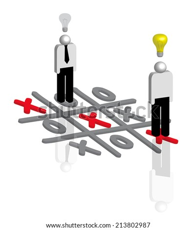 Businessmen playing tic tac toe as concept for business strategy  - stock vector