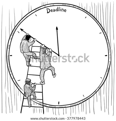 Businessmen prevent the deadline through a change in the position of arrows on the clock - stock vector