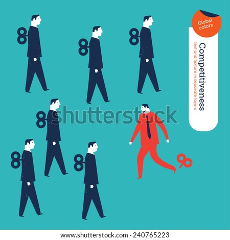 Businessmen robots one breaking free. Vector illustration Eps10 file. Global colors. Text and Texture in separate layers. - stock vector