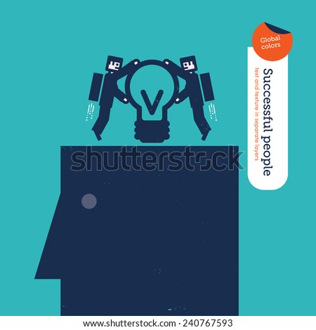 Businessmen robots putting a bulb in to a head. Vector illustration Eps10 file. Global colors. Text and Texture in separate layers. - stock vector