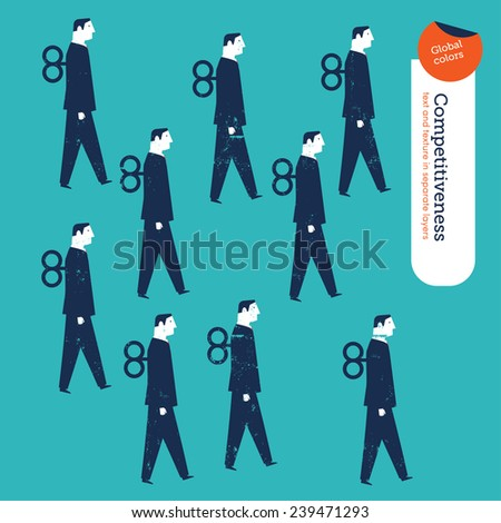 Businessmen robots. Vector illustration Eps10 file. Global colors. Text and Texture in separate layers. - stock vector