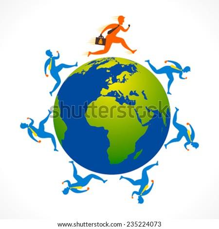 businessmen run around the earth design concept vector - stock vector