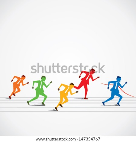 businessmen run for business  competition stock vector - stock vector