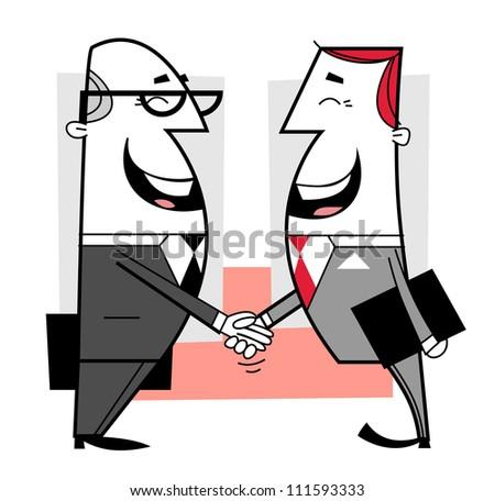 Businessmen shaking hands cartoon illustration - stock vector