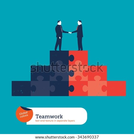 Businessmen shaking hands on a puzzle pyramid. Vector illustration Eps10 file. Global colors. Text and Texture in separate layers. - stock vector