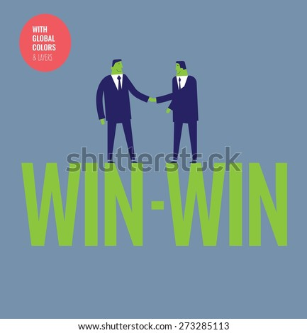 Businessmen shaking hands on a win-win word. Vector illustration Eps10 file. Global colors&layers. - stock vector