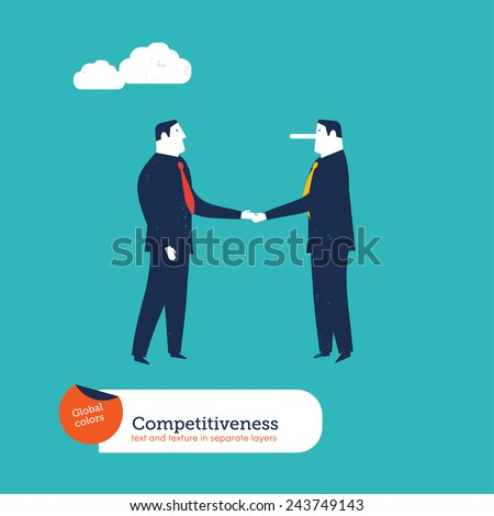 Businessmen shaking hands one with a large nose. Vector illustration Eps10 file. Global colors. Text and Texture in separate layers. - stock vector