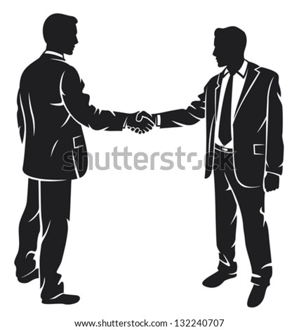 businessmen shaking hands (silhouette business contacts, meeting of businessmen, businessman shake) - stock vector