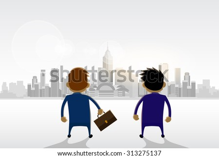 Businessmen Standing Looking City View Panorama Concept Vector Illustration - stock vector