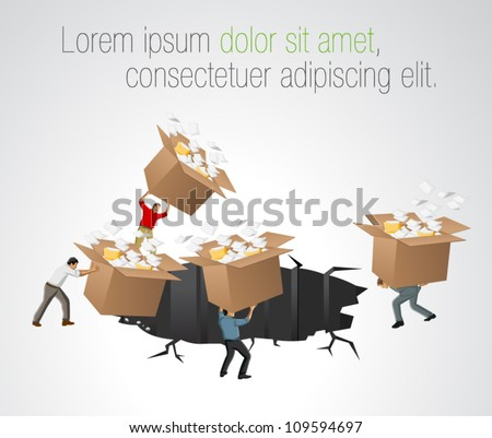 Businessmen throwing away boxes with papers and files - stock vector