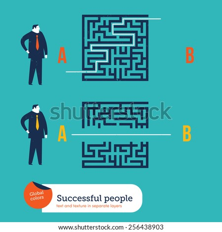 Businessmen using different ways to go out from a maze. Vector illustration Eps10 file. Global colors. Text and Texture in separate layers. - stock vector