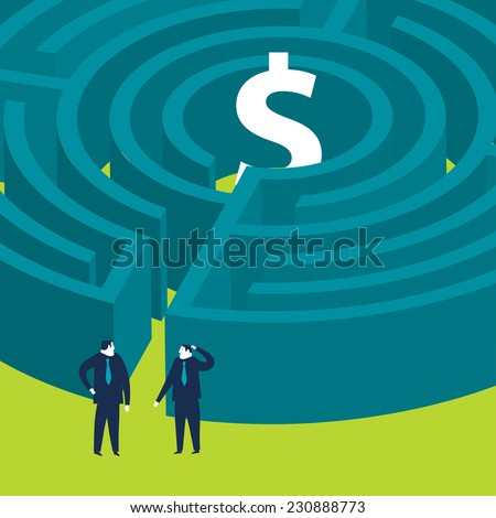 Businessmen wanting to enter a money maze - stock vector