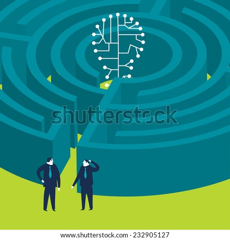 Businessmen wanting to enter a techno bulb maze - stock vector