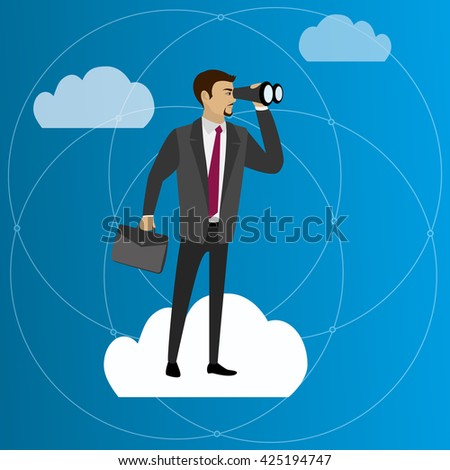 businessmen  with binocular standing on a cloud ,vector illustration  - stock vector