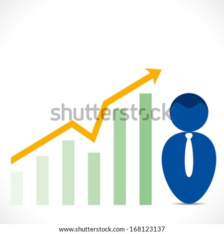 businessmen with business growth graph background vector - stock vector