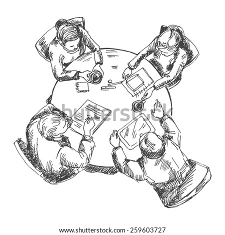 Businessmen working team at the table. Sketch converted to vectors. - stock vector