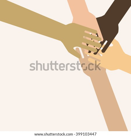 Businesspeople Colleagues Concept Success Collaboration Leader Flat Vector Illustration. teamwork. helping hand - stock vector