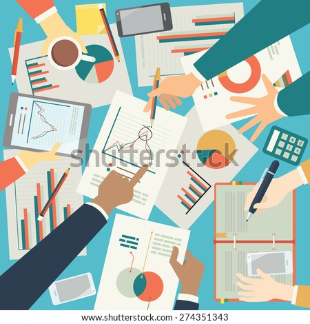 Businesspeople discussion on pictogram and graph paper, showing crisis business. Top angle. Flat design.  - stock vector