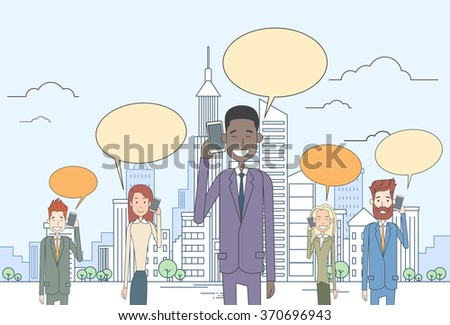 Businesspeople Group Smart Cell Phone Talk Chat Bubble Communication Over Big City View Vector Illustration - stock vector
