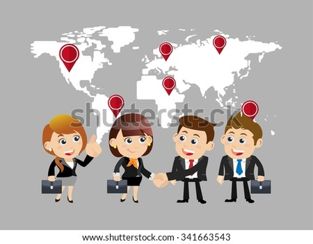 Businesspeople in cooperation  and partnership concept - stock vector