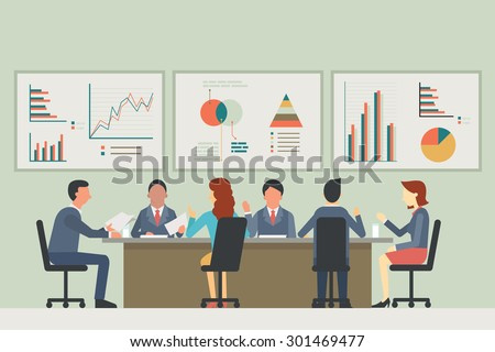 Businesspeople, man and woman, talking, discussing in meeting room. With chart and graph statistics background. Diverse, multi-ethnic, flat design.  - stock vector