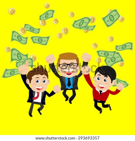 Businesspeople on pile of money cash - stock vector