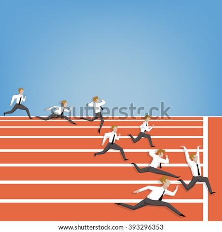 Businesspeople race on track field Athletics (Leadership business concept cartoon illustration) - stock vector