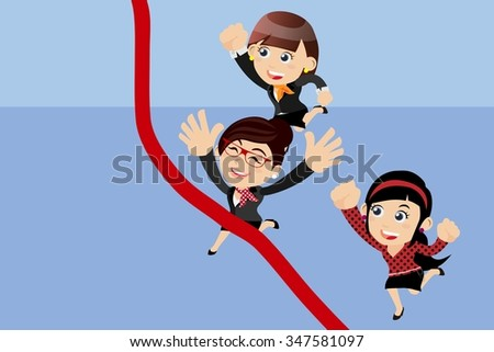 Businesspeople running to the finish line - stock vector