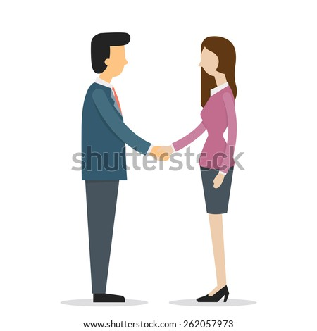 Businesswoman and businessman shaking hands. Vector illustration cartoon character with flat design.  - stock vector