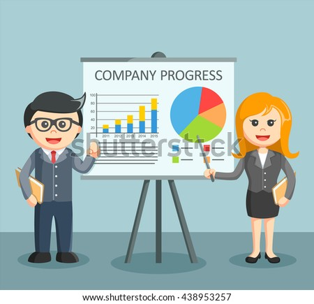 businesswoman and businessmen morated give a presentation - stock vector