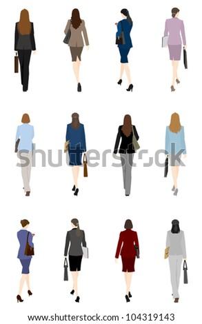 Businesswoman / Back - stock vector