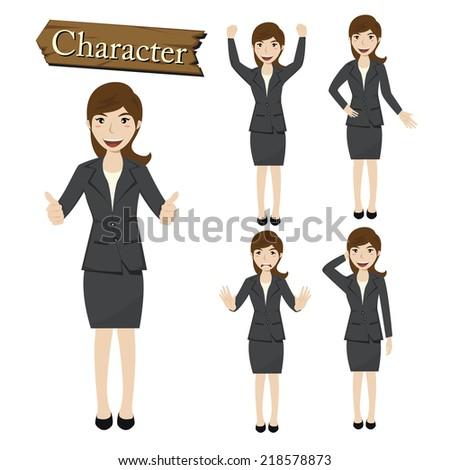 Businesswoman character set vector  - stock vector