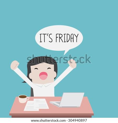 Businesswoman feel happy on Friday - Vector - stock vector