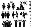 Businesswoman Female CEO Stick Figure Pictogram Icon Cliparts - stock vector