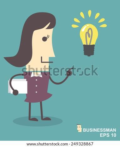 Businesswoman get an idea - stock vector