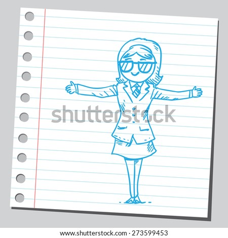 Businesswoman having glasses - stock vector