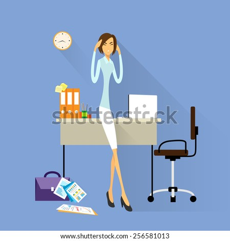 Businesswoman hold hands on temples head, business woman concept of stressed, headache flat vector illustration - stock vector