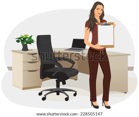 Businesswoman in an office showing blank clipboard - stock vector