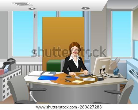 Businesswoman In Office - stock vector