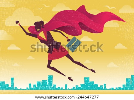Businesswoman is a Superhero. Businesswoman flies off to rescue another business deal that is need of her super powers. - stock vector