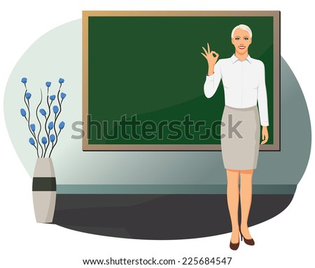 Businesswoman is standing near blank blackboard and showing OK gesture - stock vector