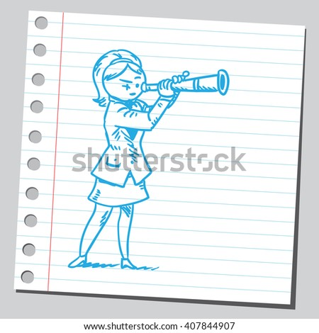 Businesswoman looking through spyglass - stock vector