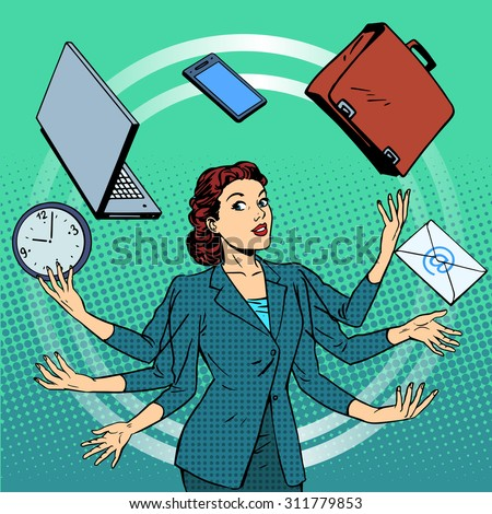 Businesswoman many hands business idea time management. Business people in the office. Retro style pop art - stock vector