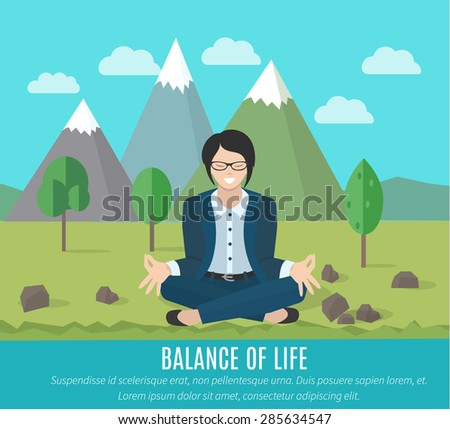 Businesswoman meditating in yoga pose outdoors. The concept of the balance of work and life. - stock vector