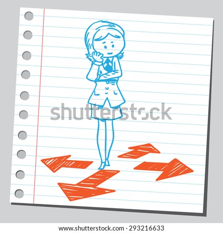 Businesswoman need to make a choice - stock vector