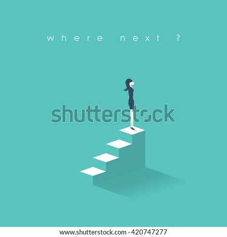 Businesswoman new opportunities concept. Business women career growth on corporate ladder. Professional growth in job concept. Eps10 vector illustration. - stock vector