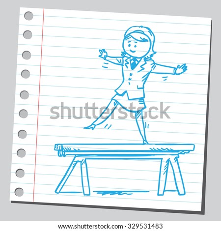Businesswoman on balance beam - stock vector